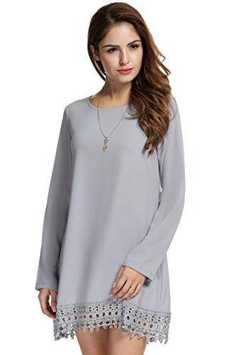 Meaneor Women Lace Embellished Long Sleeve Midi Casual Dress