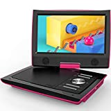 """ieGeek 11"""" Portable DVD Player with Dual Earphone Jack, 360° Swivel Screen, 5 Hrs Rechargeable Battery, Supports SD Card/USB/CD/DVD and Region Free, Remote Controller, Pink"""
