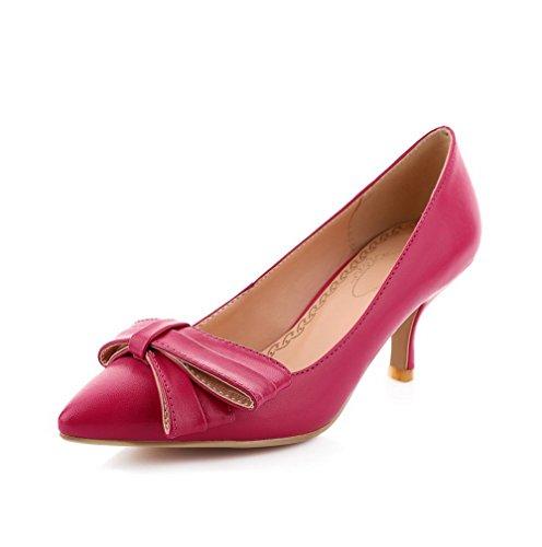 VogueZone009 Damen Weiches Material Spitz Zehe Hoher Absatz Ziehen auf Rein Pumps Schuhe Rosa