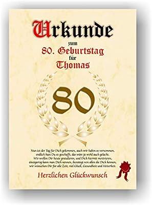 Urkunde Zum 80 Geburtstag Glückwunsch Geschenkurkunde