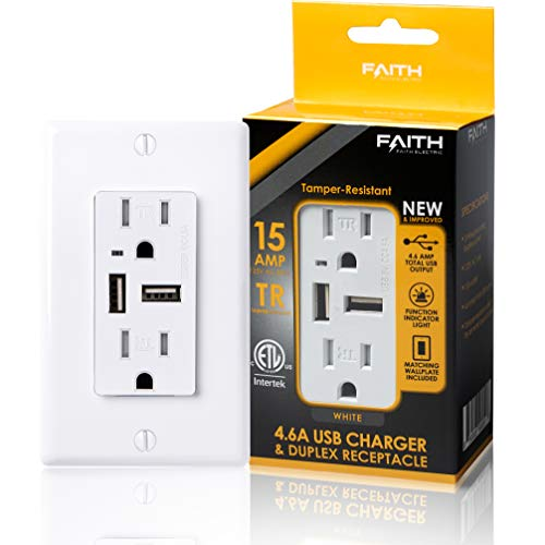 Faith Electric 4.6A USB Outlet High Speed Charger and 15A Decorator Tamper-Resistant Duplex Receptacle with Wall Plate, White