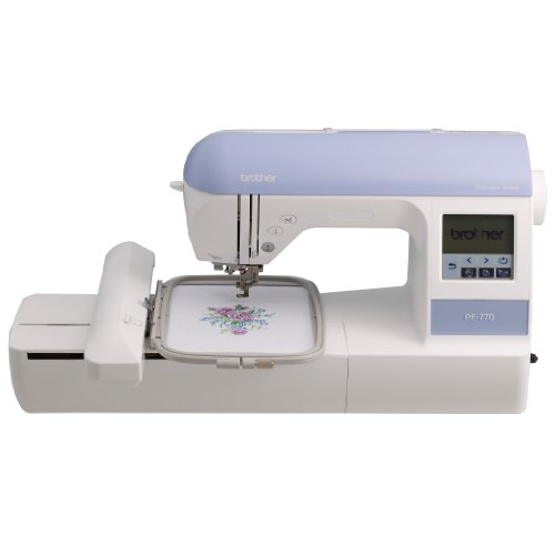 Brother PE770 5x7 inch Embroidery-only machine with built-in memory, USB port, 6 lettering fonts and 136 built-in designs
