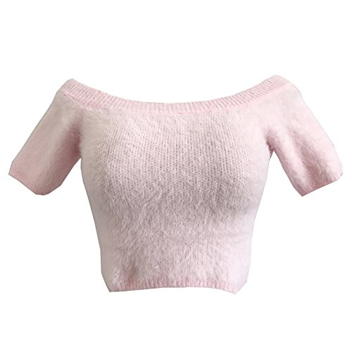 Ribbed Short Sleeve Sweater (Sarah Go Sexy Women Off Shoulder Short Sleeve Knit Sweaters Crop Tops (Pink))