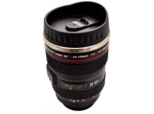 Silicone Gold SG3109 Mug objetivo fotografico, Acero Inoxidable, Negro, 16x7x