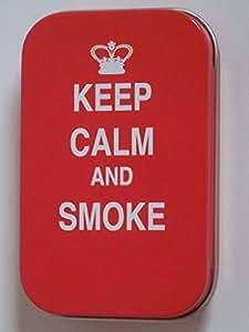 new slim 1 oz con bisagra keep calm and smoke Oh se volvio lata de tabaco para fumar