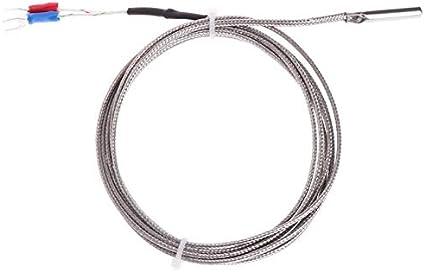NO LOGO FMN-Connector, 1pc sonda termopar Tipo K del Sensor de Temperatura del Alambre del Cable de 2 m 0~500'C for Medir Caldera Horno Controlador de Temperatura (tamaño : 2m)