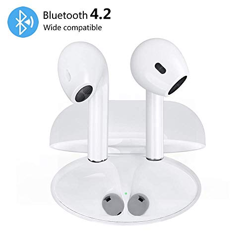 WBEHIGH Bluetooth Headphones Wireless Earbuds, Stereo Earphones Cordless Sport Headphones, Bluetooth in-Ear Noise Canceling Earphones Built-in-Mic&Charging Case