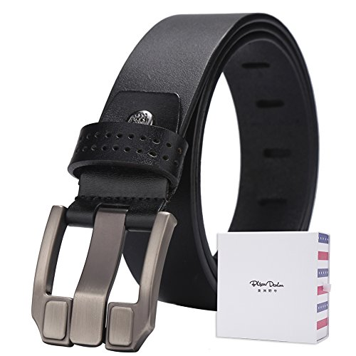 BISON DENIM Men's Belt Genuine Leather Waistband Casual Alloy Buckle Belts (45-46, (Five Buckle)