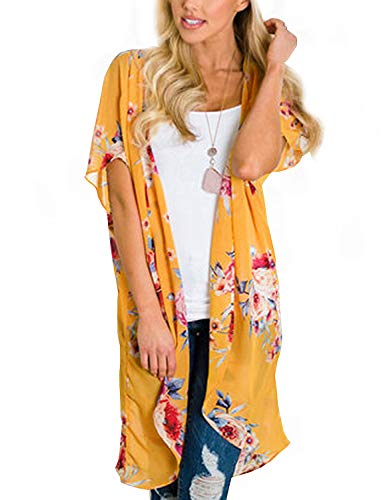 2018 New Sheer Kimono Cardigan for Women Sexy Floral Open Front Beachwear Swimsuit Swimwear Bathing Suit Cover up Capes (Yellow Medium)