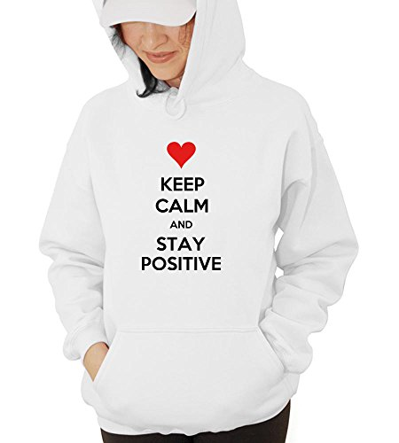 Keep Calm And Stay Positive Hooded Sweatshirt -Fwhite-XL (Stay Positive Hoodie compare prices)