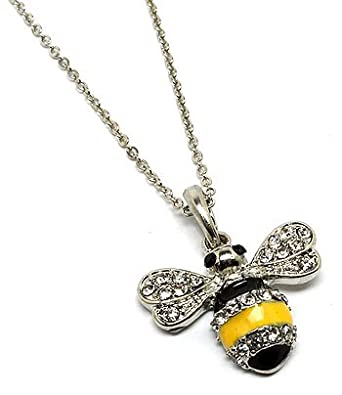 Bumble bee pendant necklace silver effect pretty bee with diamante bumble bee pendant necklace silver effect pretty bee with diamante detail pendant aloadofball Images