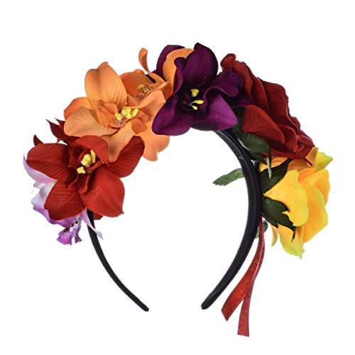 DreamLily Frida Kahlo Mexican Flower Crown Headband Party Costume Dia de Los Muertos Day of The Dead Headpiece NC12 (Ribbon Red Yellow)