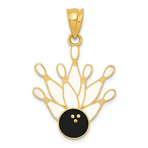 - 14k Yellow Gold Enamel 7 Pin Bowling Ball Necklace Pendant Charm Sport Fine Jewelry Gifts For Women For Her