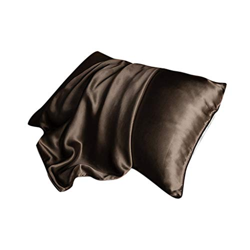 RSLG Soft Mulberry Pure Silk Pillowcase Covers Silk Anti-Ageing Beauty 1pc (Coffee)