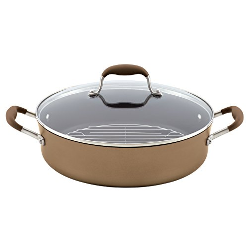 Anolon Advanced Bronze Hard-Anodized Nonstick 5.5-Quart Covered Braiser with Rack