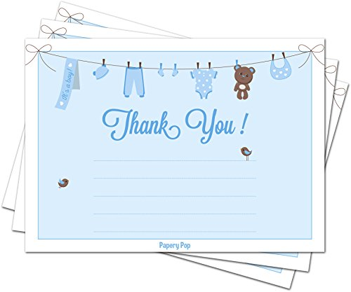30 Baby Shower Thank You Cards for Boys (with Envelopes) - Baptism or Baby Shower Thank You Notes - Fits Perfectly with Blue Baby Shower Invitations, Supplies and Decorations