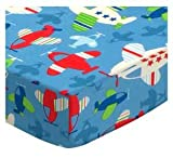 SheetWorld Fitted Pack N Play Sheet Fits Graco Square Playard 36 x 36 - Baby Airplanes - Made in USA