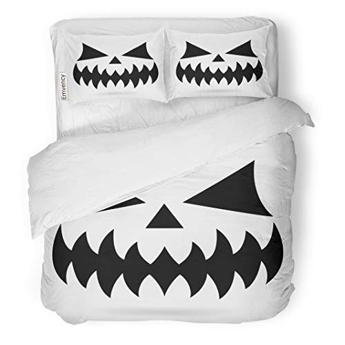 Semtomn Decor Duvet Cover Set Twin Size Scary Halloween Pumpkin Face Ghost Monster Mouth Spooky Eyes 3 Piece Brushed Microfiber Fabric Print Bedding Set Cover]()