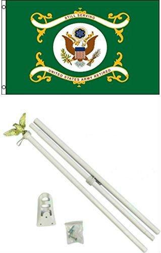 Moon 3x5 U.S. Army Green Retired Flag w/6 Ft White Flagpole