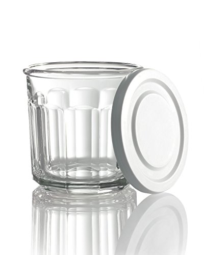 Clear Luminarc Glass (Luminarc Arc International Working Storage Jar/DOF Glass with White Lid (Set of 4), 14 oz, Clear)