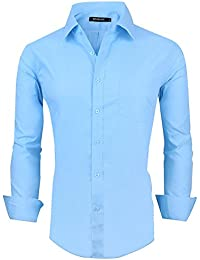 Men's Long Sleeve Casual Slim Fit Cotton Fashion Button Down Dress Shirt
