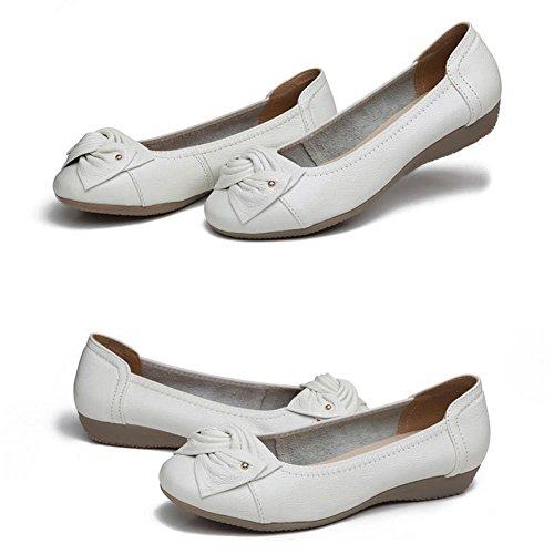 Minetom Verano Mocasines Mujer Cómodo Piso Zapatos de Conducción con Bowknot Casual Planas Cuero Loafers Zapatillas Blanco