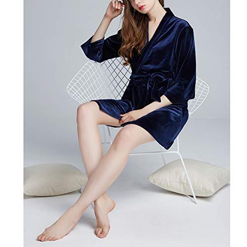 Matrimonio Accogliente Signore Notte Sexy Velluto Camicia Morbido Accappatoio Kimono Blue Da Sposa Donna Autunno Di Vestaglia Lusso 6rpq176