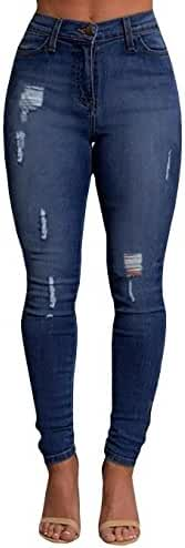 Ermonn Women High Waist Skinny Ripped Boyfriend Jeans Trousers