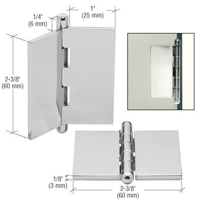 CRL Chrome Large Flat Glass-to-Glass Hinge by CR Laurence