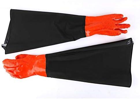 労働保護作業用手袋 作業用手袋延長防水滑り止め増粘ゴム農業漁業労働保険手袋 (Color : Orange, Size : L-One pair)