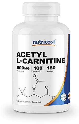 Nutricost Acetyl L-Carnitine 500mg, 180 Capsules - Non-GMO and Gluten Free