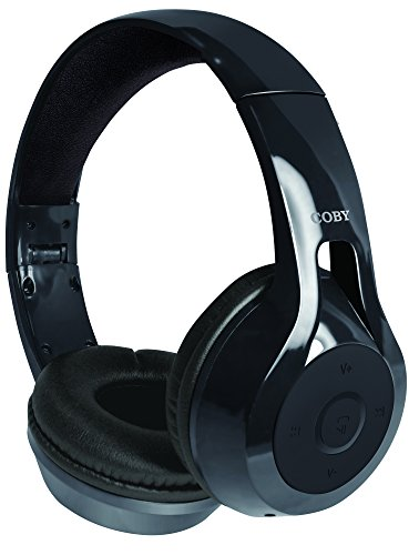 Coby CHBT-610-BLK Replay Wireless Stereo Bluetooth Headphones, Black