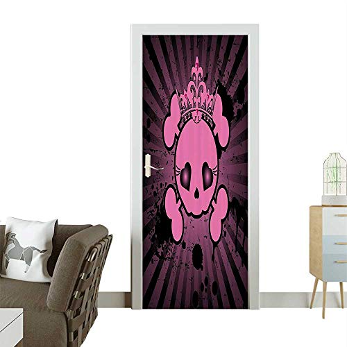 Door Sticker Wall Decals Cute Skull with Crown Dark Grunge Style Teen Spooky Halloween Easy to Peel and StickW36 x H79 -