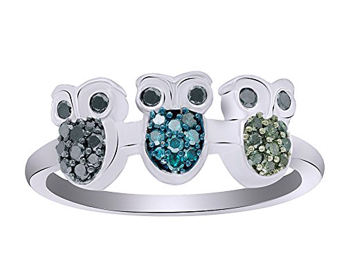 1/4 CT Round Cut Black, Blue & Green Diamond Three Owl Ring in 14K Gold Over Sterling Silver