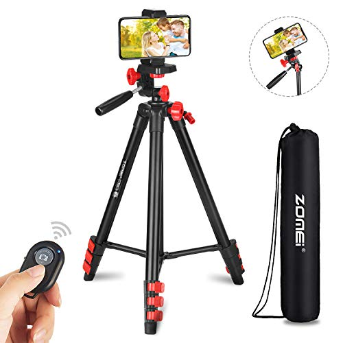 """ZoMei Phone Tripod, 52"""" Adjustable Travel Tripod for iPhone/Android, Aluminum Lightweight Cell Phone Tripod with Wireless Remote and Universal Clip for GoPro Smartphone"""
