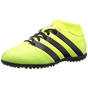 adidas Performance Kids' Ace 16.3 Primemesh Turf Soccer Cleats, Solar Yellow/Black/Metallic Silver, 3.5 M US Big Kid