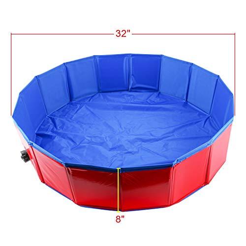 Homend 32inch.D x 8inch.H PVC Pet Swimming Pool Portable Foldable Pool Dogs Cats Bathing Tub Bathtub Wash Tub Water Pond Pool (80cm x 20cm(32inch.D x 8inch.H))