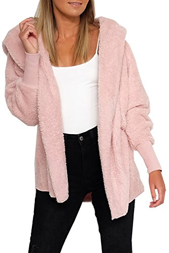 (BTFBM Women Casual Long Sleeve Cardigan Warm Hooded Jacket Winter Coat Outwear (Pink, X-Large))