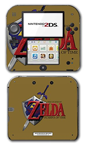 Legend of Zelda Link Ocarina of Time Gold Logo Master Sword Hylian Shield Video Game Vinyl Decal Skin Sticker Cover for Nintendo 2DS System Console (Legend Of Zelda Ocarina Of Time Hylian Shield)