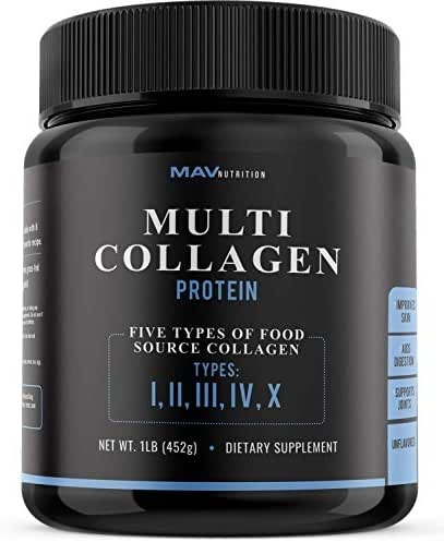 MAV Nutrition Multi Collagen Powder, Blend of Grass-Fed Beef, Chicken, Fish Peptides, Unflavored, Non-GMO, 16oz