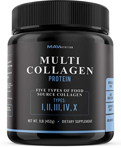 MAV Nutrition Multi Collagen Powder, High-Collagen Protein Powder; Blend of Grass-Fed Beef, Chicken, Fish Peptides for Digestion and Joints; Pure Unflavored; 100% All Natural, Non-GMO & Gluten-Free