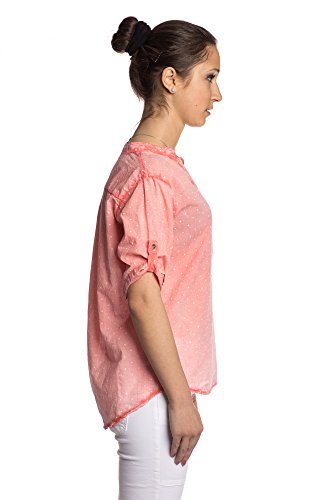 Abbino 83151 Blusas De Verano Con Lunares Tops para Mujer - Hecho en ITALIA - 6 Colores - Entretiempo Primavera Verano Otoño Mujeres Femeninas Elegantes Camisas Delicado Fiesta Rebajas Coral Rojo