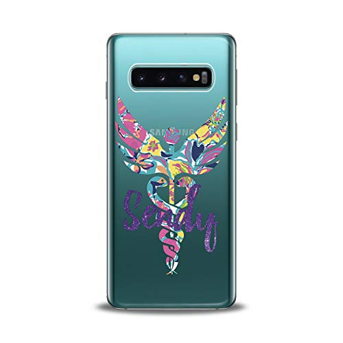 Lex Altern TPU Case for Samsung Galaxy s10 5G Plus 10e Note 9 s9 s8 s7 Clear Colorful Emblem Phone Medicine Monogram Cover Initial Pattern Protective Nurse Women Soft Silicone Transparent Flexible Art]()