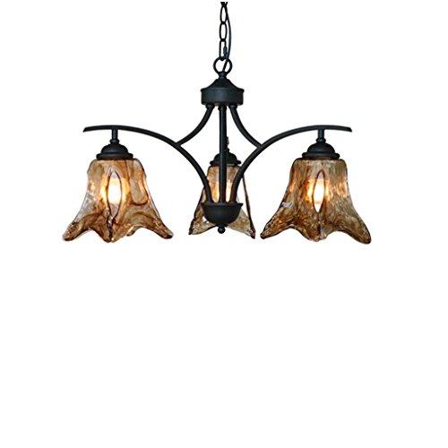 Retro Luxurious Amber Glass Chandelier Creative E27 Iron Ceiling Light for Restaurant Cafe Shop Living Room (Size : 3 Light)