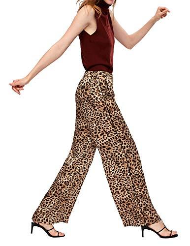 HAOYIHUI Womens Wild and Sexy Animal Print Wide-Leg Pants(L,Leopard)
