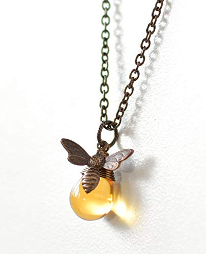 Bee Charm Necklace (Antique Brass Honey Bee Charm Necklace)
