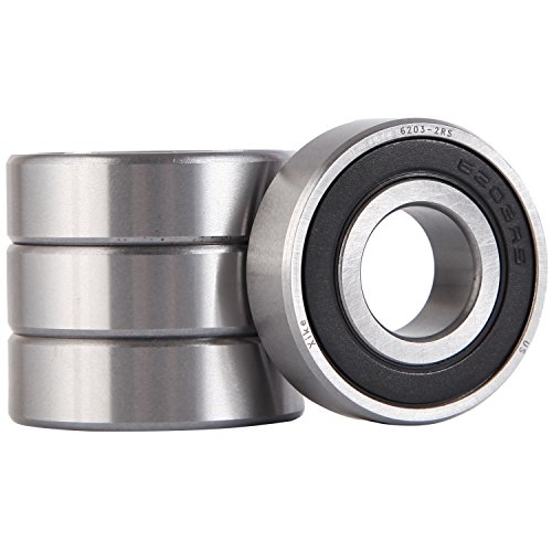 XiKe 4 Pack 6203-2RS Bearings 17x40x12mm, Stable Performance and Cost-Effective, Double Seal and Pre-Lubricated, Deep Groove Ball Bearings.