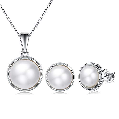 EVERU Pearl Jewelry Set Sterling Silver with AAAA Freshwater Cultured Pearls Stud Earrings and Necklace Sets for Women
