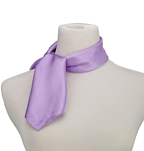 Silk Feel Soft Satin Square Scarf Head Neck Multiuse Solid Colors Available (Lavender Silk Scarf)