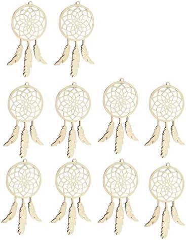 HEALLILY 10ピースミニドリームキャッチャー木製吊り装飾バッグペンダントチャーム自由bo放に生きる結婚式パーティーの好意
